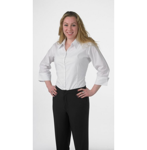 Ladies 3/4 Sleeve Form Fitted Dress Shirt