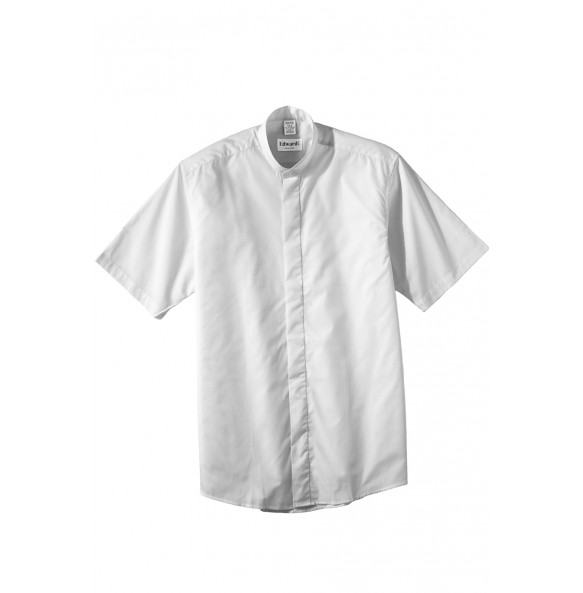 Banded Collar Shirt with Short Sleeves