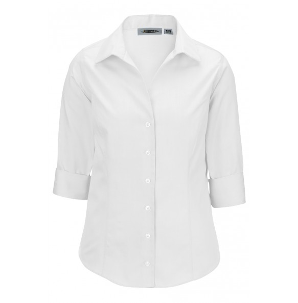 No-Iron 3/4-Sleeve Open Neck Shirt