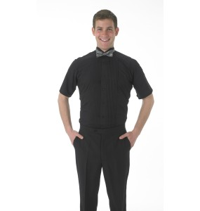 Black Short Sleeve Tuxedo Shirt