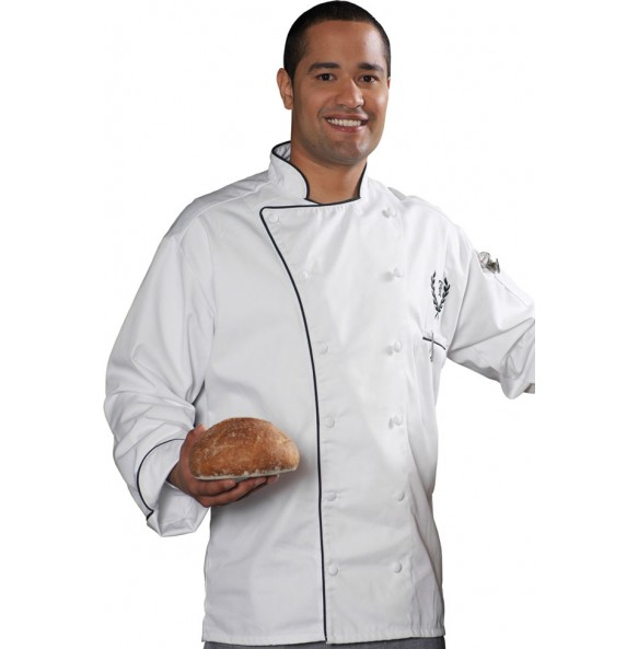 Executive 12 Button Chef Coat with Black Trim