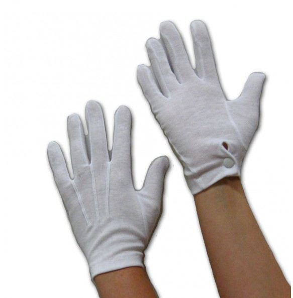 White Gloves with Snap Close Wrist