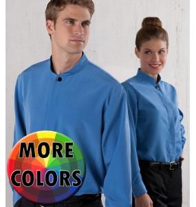 Mandarin Style Banded Collar Dress Shirt