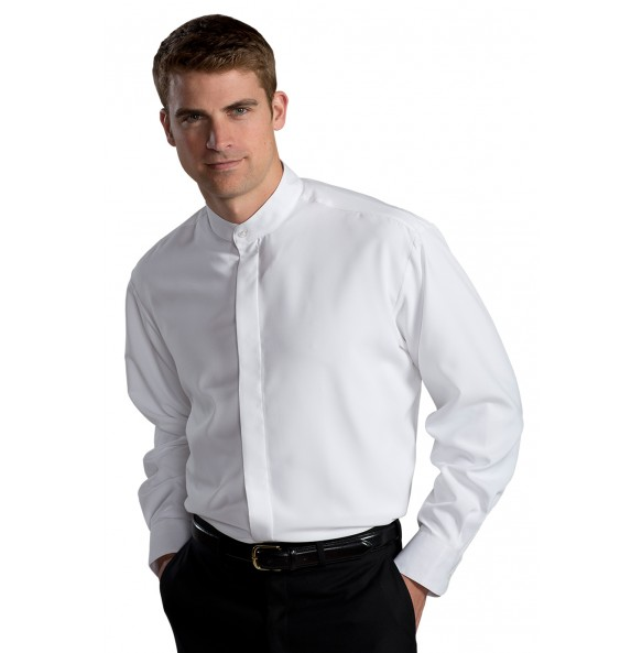 Batiste Banded Collar Dress Shirt