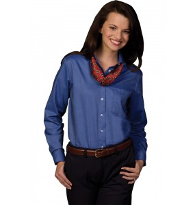 Ladies Easy Care Oxford Long Sleeve Blouse