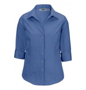 No-Iron 3/4-Sleeve Open Neck Shirt