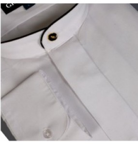 Banded Collar Shirt with Black Piping